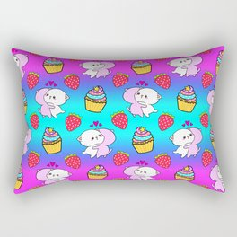 Cute happy cuddling funny Kawaii baby kittens, sweet red summer strawberries and colorful yummy cupcakes bright rainbow design. Nursery decor. Rectangular Pillow