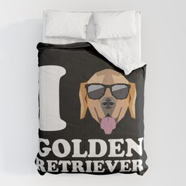 I Love Golden Retriever modern v2 Comforters