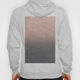 Rose gold glitter ombre grey cement concrete Hoody