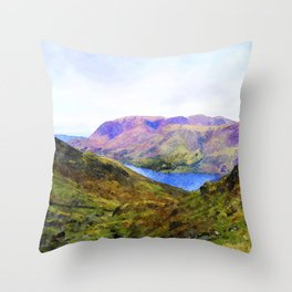 View Down to Buttermere, Lake District, UK Watercolour Painting Throw Pillow