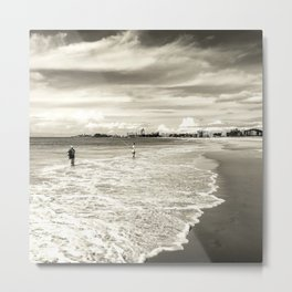 Ocean Fishing Along The Shore In Foamy Surf Metal Print