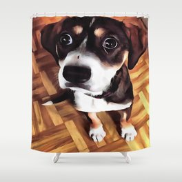 Marty The Soulful Eyed Dog  Shower Curtain
