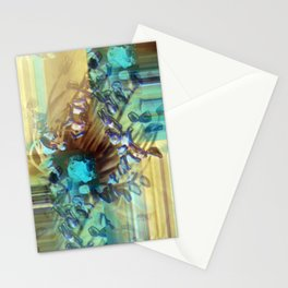 Teal and Brown Lined Abstract Stationery Cards