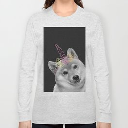 dog with unicorn and flowers Long Sleeve T-shirt