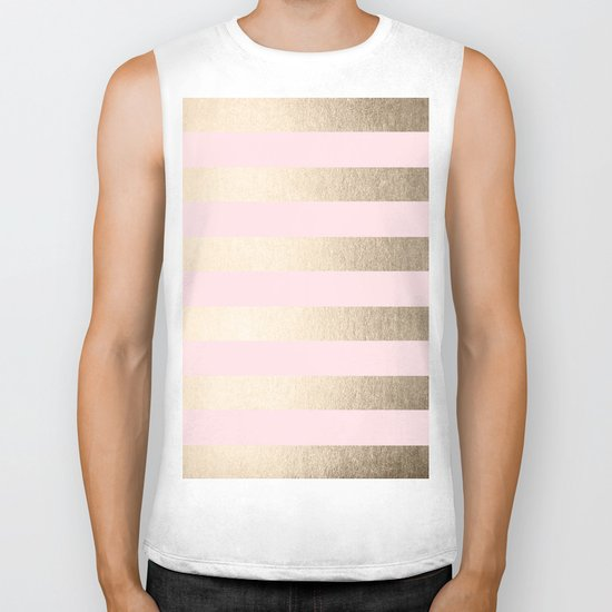 Simply Striped in White Gold Sands and Flamingo Pink Biker Tank