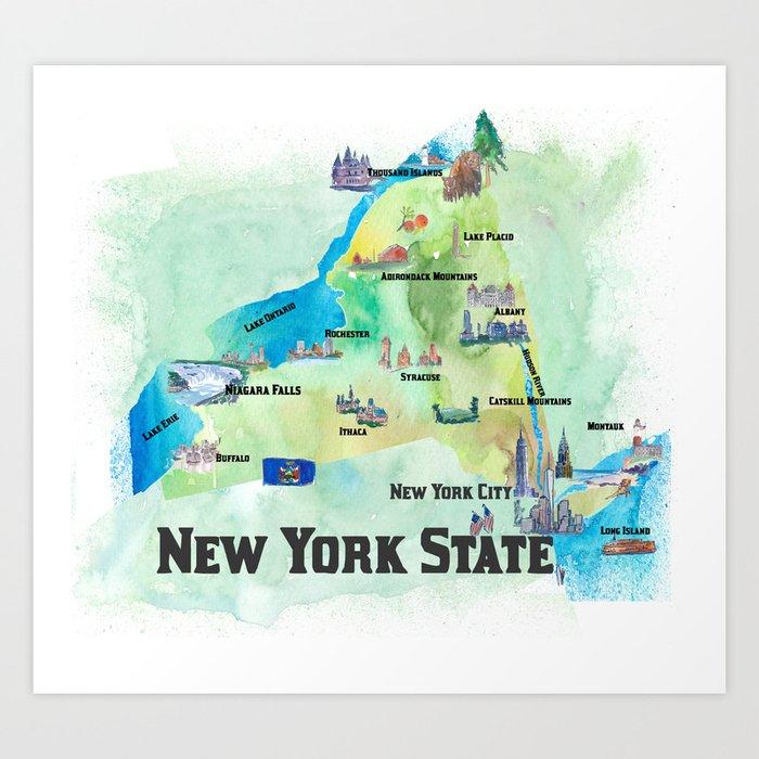 USA New York State Travel Poster Map with tourist highlights Kunstdrucke