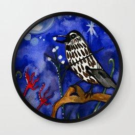 Silver Moon Berries Wall Clock