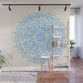 Pale Blue Pencil Pattern - hand drawn lace mandala Wall Mural