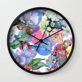 Contemporary Colorful Watercolor Pastel Floral Print Wall Clock