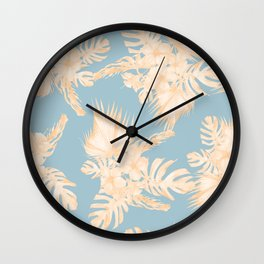 Island Vacation Hibiscus Palm Mango Sky Blue Wall Clock