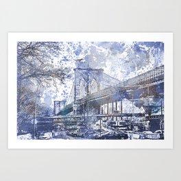 Brooklyn Bridge New York USA Watercolor blue Illustration Art Print