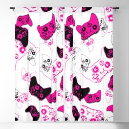 Video Game White & Pink Blackout Curtain