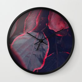 Sensual Red & Dark Purple Leaves Abstract Photography Patterns In Nature Wall Clock