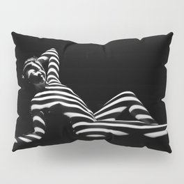 0381-PDJ Zebra Striped Black White Nude Reclining Pillow Sham