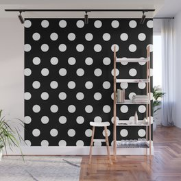 White Polka Dots on Black Wall Mural