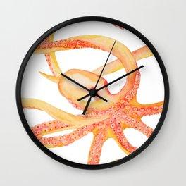 Orange Octopus Watercolor Wall Clock
