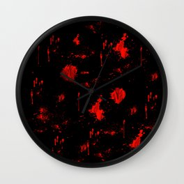 Red Paint / Blood splatter on black Wall Clock
