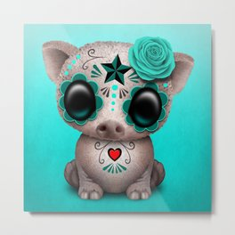 Blue Day of the Dead Sugar Skull Baby Pig Metal Print