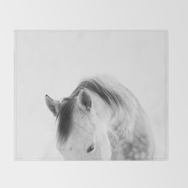 Modern Photography White Horse Throw Blanket