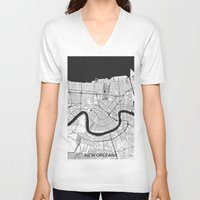 new orleans V-neck T-shirts featuring New Orleans Map Gray by City Art Posters