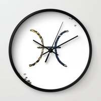 pisces Wall Clocks featuring Pisces by haroulita