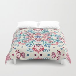 Pastel Blue, Pink & Red Watercolor Floral Pattern on Cream Duvet Cover
