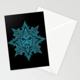 Ancient Blue and Black Aztec Sun Mask Stationery Cards