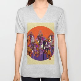 "modern art "" PURPLE & CREAM "" ORANGE IRIS GARDEN Unisex V-Neck"