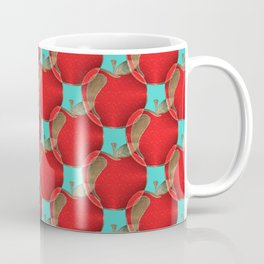 Colorful red apples on a teal background Coffee Mug