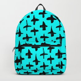 Aqua Blue and Black plus signs brush strokes seamless pattern Backpack