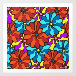 floral background. field of multi colored bright summer colors for the background Art Print