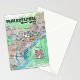 Philadelphia Pennsylvania Fine Art Print Retro Vintage Map with Touristic Highlights Stationery Cards
