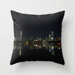 Boston Skyline at Night Throw Pillow