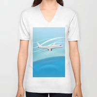 airplane V-neck T-shirts featuring Airplane by salamandra7