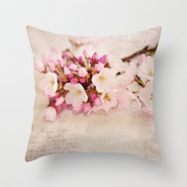 cherry blossoms with typography Throw Pillow