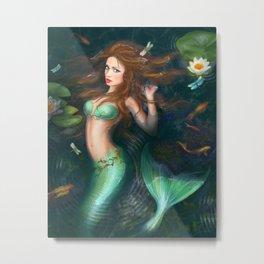 Beautiful Fantasy mermaid in lake with lilies Metal Print
