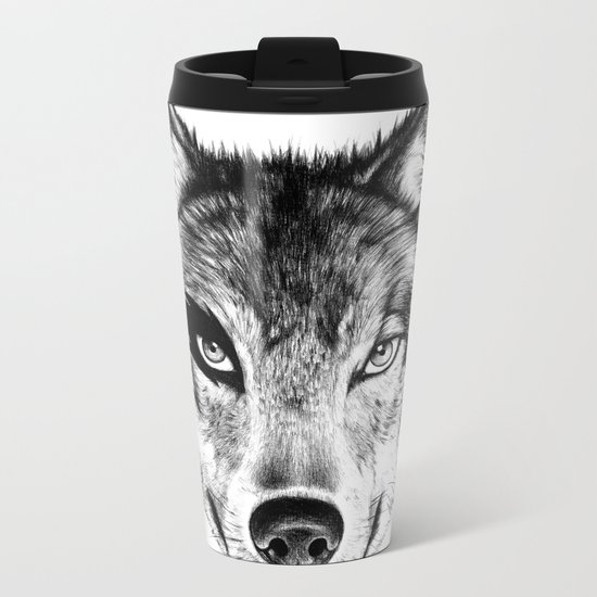 The Wolf Next Door Metal Travel Mug