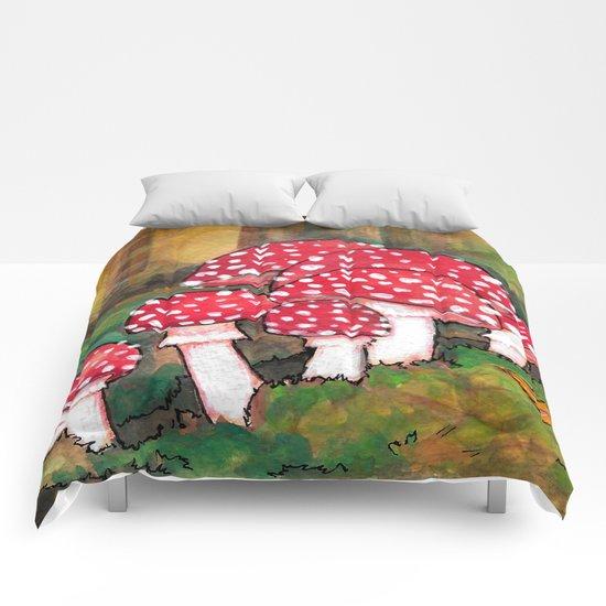 Mushrooms in the Woods Comforters