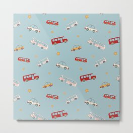 Boy pattern with cars Metal Print