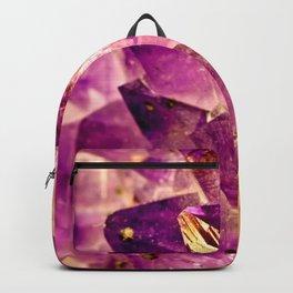 Golden Gleaming Amethyst Crystal Backpack