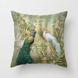 Vintage Royal Peacock Temple Dreams Throw Pillow