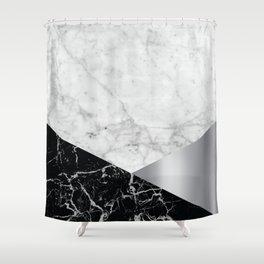 Geometric White Marble Design - Black Granite & Silver #230 Shower Curtain