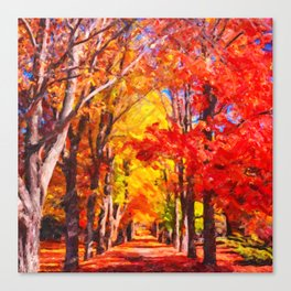 Falling leaves natural background Canvas Print
