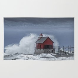 Grand Haven Lighthouse in a November Storm on Lake Michigan Rug