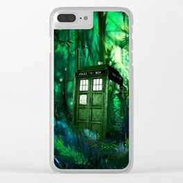 Tardis in the forest 2 Clear iPhone Case