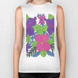 Tropical Hibiscus Bouquet Biker Tank