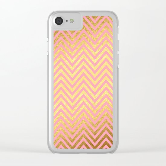 Chevron Herringbone pattern rosegold- gold metal glitter on pink watercolor Clear iPhone Case