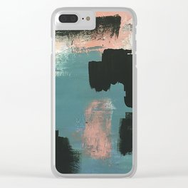 Wander: an abstract mixed media piece in pink teal green and white Clear iPhone Case