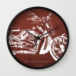 2011 HD VRSCF V-Rod Muscle red blueprint Wall Clock