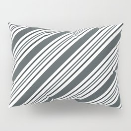 PPG Night Watch Pewter Green and Dark Green Thick and Thin Angled Lines - Stripes Pillow Sham